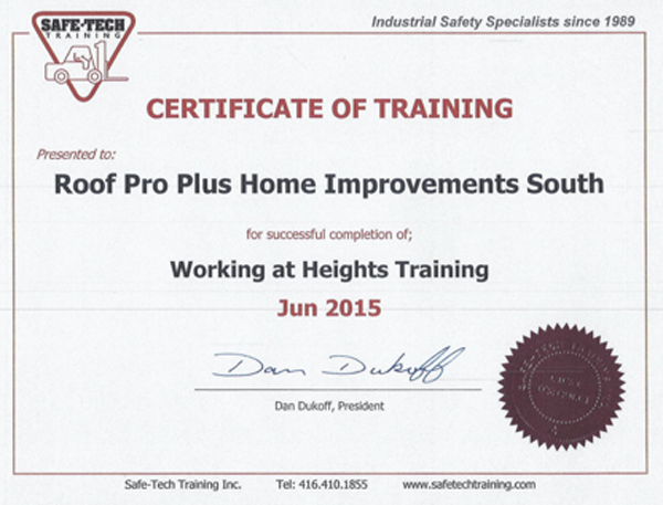 Roofers at Roof Pro Plus are all 'Working at Heights' trained