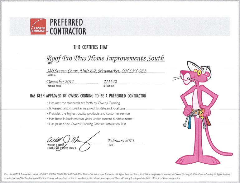 roof pro plus preferred contractor certificate