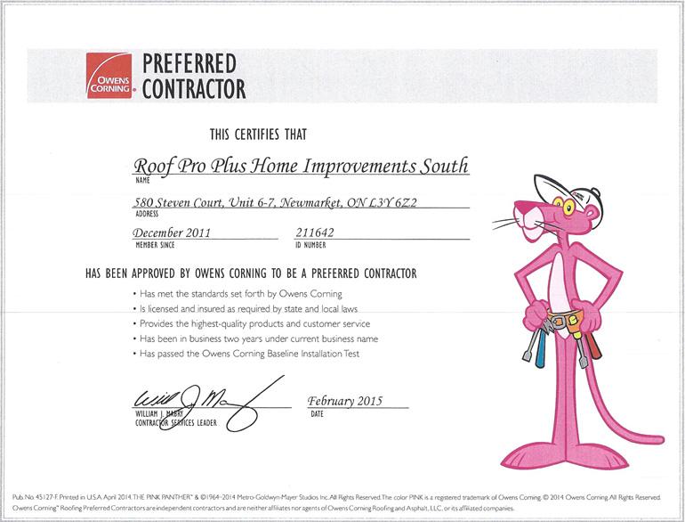 roof pro plus preferred contractor certificate