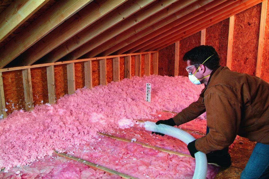 main in attic blowing wool
