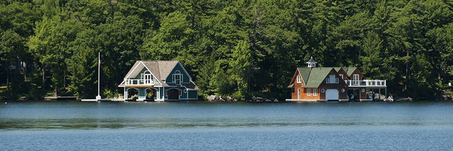 Cottages on a lake