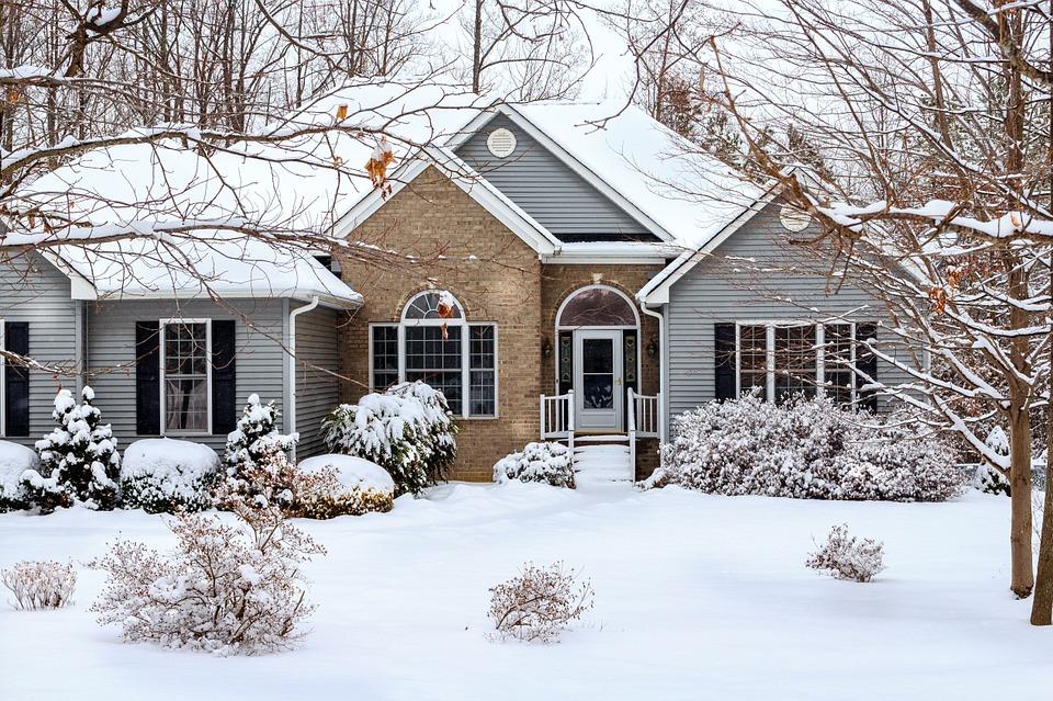 winter house siding